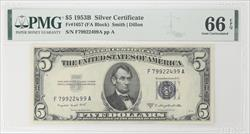 1953B $5 Silver Certificate, Fr. 1657 PMG GU 66 EPQ - Excellent Note