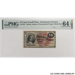15 Cent, Fractional Currency, Fourth Issue, PMG 64 EPQ - Nice Note