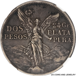 1921-Mo MEXICO Dos Pesos Silver NGC AU50 Independence from Spain Centennial Commemorative