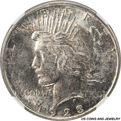 1923-D Silver Peace Dollar NGC MS64 Toned Obverse Surface