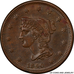 1840  Small/Large 18 Braided Hair Large Cent PCGS AU55 Nice Brown Surfaces