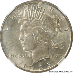 1926-D Silver Peace Dollar NGC MS64 Super Sharp with light toning