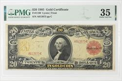 1905 $20 GOLD CERTIFICATE FR#1180 Technicolor PMG CVF-35 Minor Repairs