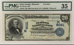 $20 1902 DATE BACK THE BURNES NB OF ST JOSEPH MISSOURI PMG CVF 35