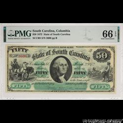 1872 $50 South Carolina, Columbia Bond Script PMG  GU 66 EPQ SCCR8 S/N 3606