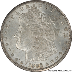 1892-CC Morgan Dollar - Nice Original Coin - Very Lightly Circulated - AU-55