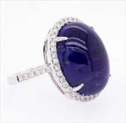 Tanzanite Double Cabochon Oval Ring GIA Certified 16.35 x 12.65 mm