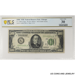 1928 $500 Federal Reserve Note, Fr. 2200-G, Chicago, PCGS 30 Very Fine
