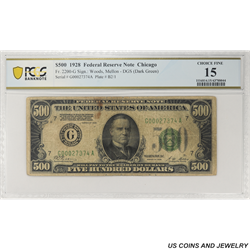 1928 $500 Federal Reserve Note, Fr. 2200-G, Chicago,   PCGS 15 Choice Fine