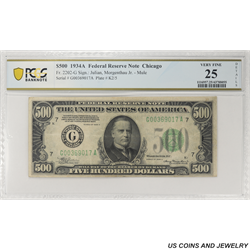 1934A $500 Federal Reserve Note, Fr. 2202-G, Chicago, PCGS 25 Very Fine