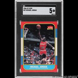 1986-87 FLEER #57 MICHAEL JORDAN SGC 5 EX