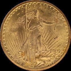 1907  Saint St. Gaudens $20 Gold Double Eagle NGC MS 62