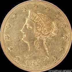 1854-O  Liberty $10 Gold Eagle Small Date NGC XF40
