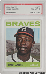 1964 TOPPS #30 Hank Aaron Braves Outfielder PSA NM-MT 8