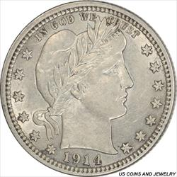 1914 Barber Quarter Choice AU+ Frosty White