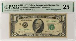 1977 $10 Federal Reserve Note - Kansas Fr# 2023-J Offset Printing Front to Back  PMG