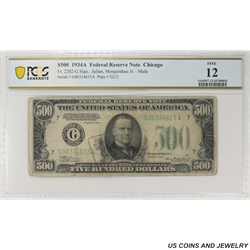 1934A $500 Federal Reserve Note,  Fr. 2202-G, Chicago, PCGS  12 Fine