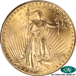 1928 St. Gaudens $20 Gold Double Eagle PCGS and CAC MS65 Gorgeous Frosty Gold