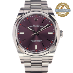 Rolex 39mm Oyster Perpetual 114300 Red Grape Dial With Box 2016 card books and tags