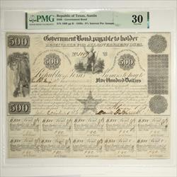 Republic of Texas, Austin $500 Government S/N 1009, Nice Note PMG VF 30