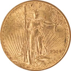 1914 Saint St. Gaudens $20 Gold Double Eagle Old Holder ANACS MS 62