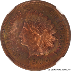 1900 Indian Head Cent NGC MS64 Red Brown - Attractive Toning