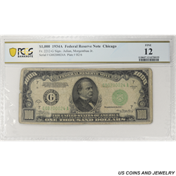1934A $1000 Federal Reserve Note, Chicago, PCGS  Fine 12