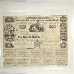 1840 Republic of Texas $500 Certificate of Stock, S/N 2031, Circulated -    Fine