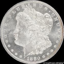 1880-CC  Morgan Silver Dollar 8/7 High 7 PCGS MS63PL - White Coin