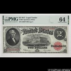 1917 $2 Jefferson Legal Tender Note PMG  CU 64 FR#60 SN E26271485A