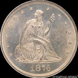 1876-P Twenty Cent Piece NGC MS 63 - Nice Coin, Light Cameo