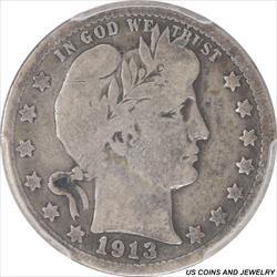 1913-S Barber Quarter PCGS VG08 Tiny Mintage Key Date