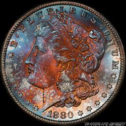 1880-S Morgan Silver Dollar Rainbow Toning PCGS MS 67 +