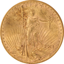 1911-S Saint St. Gaudens $20 Gold Double Eagle Old Holder ANACS MS 61