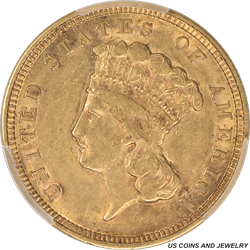 1854 Indian Princess $3 Gold PCGS AU50 Great Type Gold