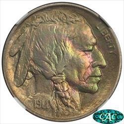 1914-S Buffalo Nickel NGC MS64 CAC Colorfully Toned