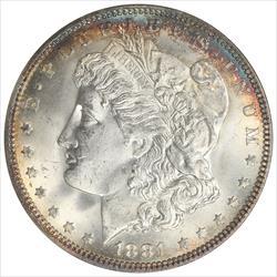 1881 Morgan Silver Dollar NGC MS64 Rich Colorful Halo Toning