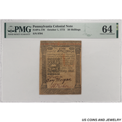 1773 Colony of Pennsylvania; 50 Shillings; Fr.PA-170, PMG 64 - Nice Original Note