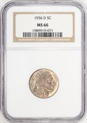 1936-D Buffalo Nickel NGC MS 66 - Nice Original Color