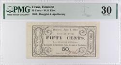 1863  Houston, Texas - 50 Cents, Druggist  & Apothecary PMG VF 30