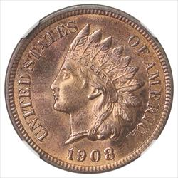 1908-S  Indian Cent NGC MS64 Frosty Red Color