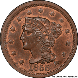 1855  Braided Hair Large Cent Upright 55 PCGS MS65BN