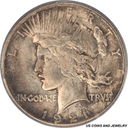 1921 Silver PEACE Dollar PCGS MS64 Smokey Aged Toning