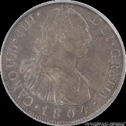 GUatamala 1804-NG M Carolus IIII 8R Silver PCGS XF45 Colonial Spain Eight Reales Silver
