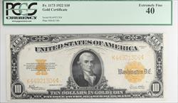 1922 $10 Gold Certificate PCGS EF40 Fr 1173 Speelman White