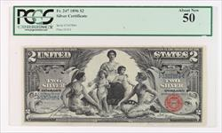 1896 $2 Educational Series Silver Certificate   PCGS AU 50 Fr#247 S/N 3307884