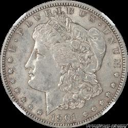 1901 Morgan Silver Dollar NGC AU55 Rare Key Date Coin