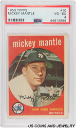 1959 TOPPS MICKEY MANTLE #10 PSA VG-EX 4