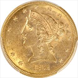 1861 Liberty Head $5 gold Half Eagle  PCGS MS61