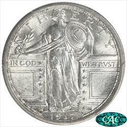 1917  T1 Standing Liberty Quarter PCGS and CAC MS63FH Full Head